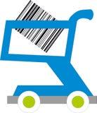 Carro de compra com códigos de barras para dentro Fotos de Stock