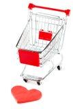 Carro de compra com coração Fotografia de Stock