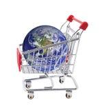 Carro de compra com globo foto de stock royalty free