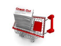 Carro de compra do conceito do comércio electrónico a verific para fora Fotos de Stock Royalty Free