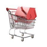 Carro de compra isolado com a casa vermelha do ícone Fotos de Stock Royalty Free