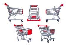 Carro de compras aislado en blanco Fotografía de archivo libre de regalías