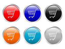 Carro de compras brillante de los botones Foto de archivo libre de regalías