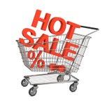 Carro de compras caliente de la venta en el fondo blanco Fotografía de archivo libre de regalías