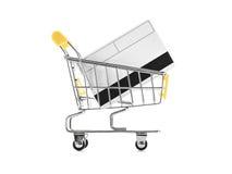 Carro de compras con de la tarjeta de crédito Imagen de archivo libre de regalías