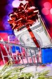 Carro de compras con el dinero Imagen de archivo libre de regalías