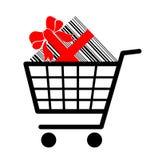 Carro de compras con el presente Foto de archivo libre de regalías