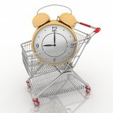 Carro de compras con el reloj ilustración del vector