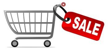 Carro de compras con la escritura de la etiqueta de la venta Imagen de archivo