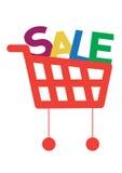 Carro de compras con las cartas de la venta Imagen de archivo