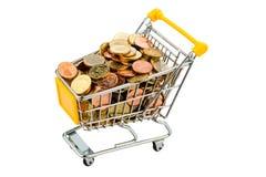 Carro de compras con las monedas Fotos de archivo