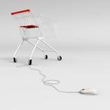 Carro de compras con ratón Foto de archivo libre de regalías