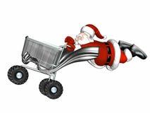 Carro de compras de Santa ilustración del vector