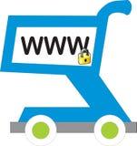 Carro de compras de WWW con el bloqueo ilustración del vector