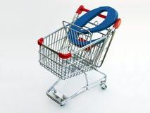 Carro de compras del comercio electrónico (visión superior) Foto de archivo libre de regalías