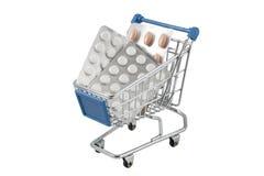 Carro de compras por completo de píldoras Fotografía de archivo libre de regalías