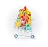 Carro de compras por completo de regalos Imagenes de archivo