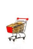 Carro de compras por completo del dinero Fotos de archivo libres de regalías