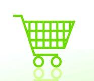 Carro de compras verde Foto de archivo libre de regalías