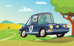 Carro de corridas azul na ação Foto de Stock