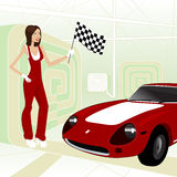 Carro de corridas com menina Imagens de Stock