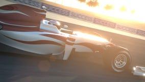 Carro de corridas F1 no circuito do deserto - passando a câmera