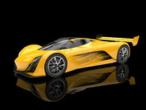 Carro de corridas futurista amarelo vívido do conceito ilustração do vetor