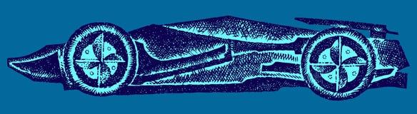 Carro de corridas no fundo azul Ilustração do vetor Fundo ilustração stock