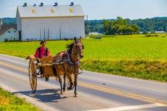Carro de dois Amish da roda foto de stock