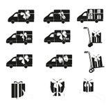 Carro de entrega e presente, ícones de compra do vetor ajustados Fotos de Stock Royalty Free