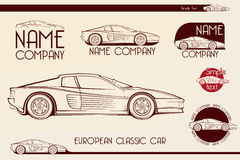 Carro de esportes clássico europeu, silhuetas, logotipo Imagem de Stock Royalty Free
