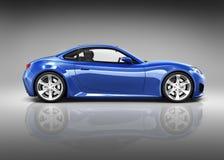 carro de esportes 3D azul luxuoso ilustração stock