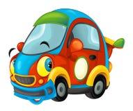 Carro de esportes dos desenhos animados que sorri e que olha no fundo branco ilustração stock