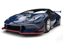 Carro de esportes fresco com detalhes vermelhos - tiro dos azuis marinhos do close up da vista dianteira ilustração do vetor