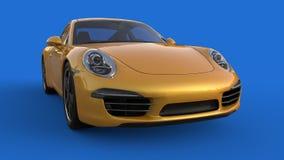 Carro de esportes A imagem de um carro amarelo dos esportes em um fundo azul ilustração 3D Fotografia de Stock
