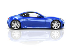 Carro de esportes luxuoso do azul 3D fotografia de stock