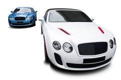 Carro de estática branco independente no fundo branco Foto de Stock Royalty Free