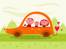 Carro de família ilustração royalty free