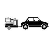 Carro de frete preto da silhueta para a bagagem ilustração stock