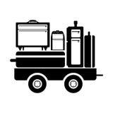 Carro de frete preto da silhueta para a bagagem ilustração do vetor