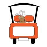 Carro de golf anaranjado Imágenes de archivo libres de regalías