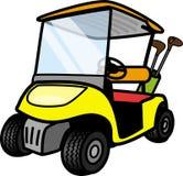 Carro de golfe amarelo Fotografia de Stock