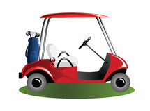 Carro de golfe no campo Fotos de Stock