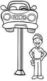 Carro de Jackied do auto reparo - preto e branco ilustração do vetor