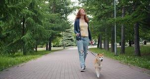 Carro de la cámara lenta tirado de perrito bien educado que camina de la muchacha hermosa en parque verde almacen de metraje de vídeo
