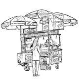 Carro de la calle del perrito caliente en Nueva York stock de ilustración