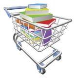 Carro de la carretilla de las compras por completo del concepto de los libros Fotografía de archivo