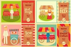 Carro de la comida con el vendedor Foto de archivo libre de regalías
