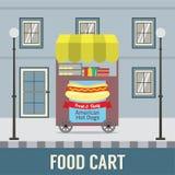 Carro de la comida en Front Of Vintage Building Imágenes de archivo libres de regalías