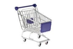Carro de la compra aislado en blanco Imagen de archivo libre de regalías